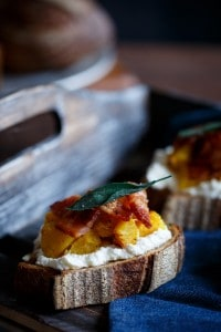 Acorn Squash Crostini with Ricotta, Bacon, and Fried Sage