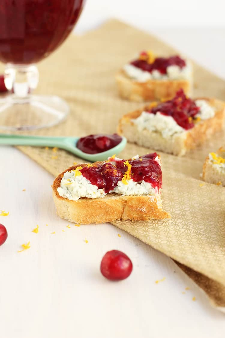 Cranberry Crostini with Blue Cheese