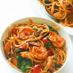 Spicy-Shrimp-Spaghetti in bowl