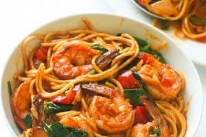 Spicy-Shrimp-Spaghetti in bowl
