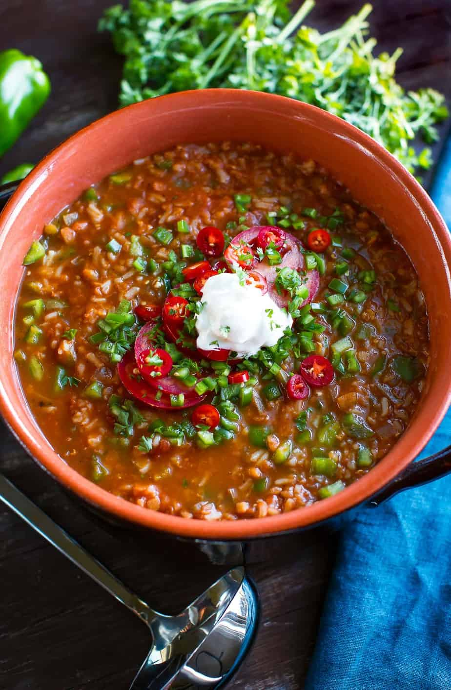 Vegan Stuffed Pepper Soup with Red Lentils