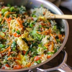 Vegetable Fried Rice in Skillet