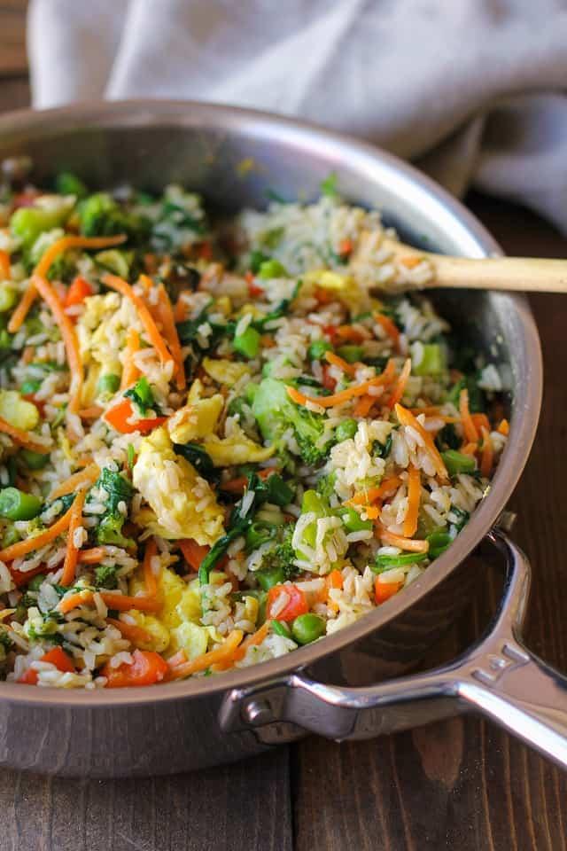 Vegetable Fried Rice in Skillet