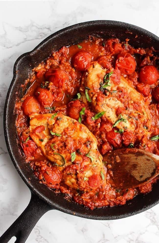 Chicken in Fresh Tomatoes-Basil
