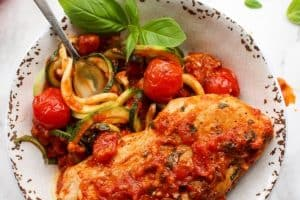 Chicken with Fresh Tomatoes-Basil and Zucchini