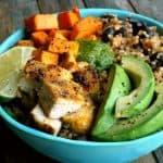 Chicken Sweet Potato and Quinoa Bowlswith Tomatillo Drizzle