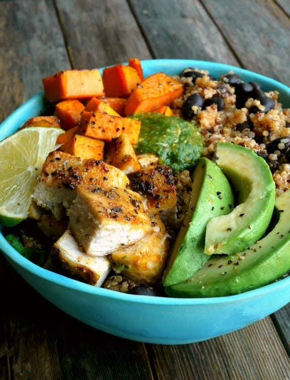 Chicken Sweet Potato and Quinoa Bowlswith Tomatillo Drizzle
